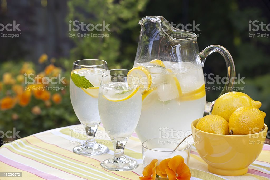 Lemonade and Pansies stock photo