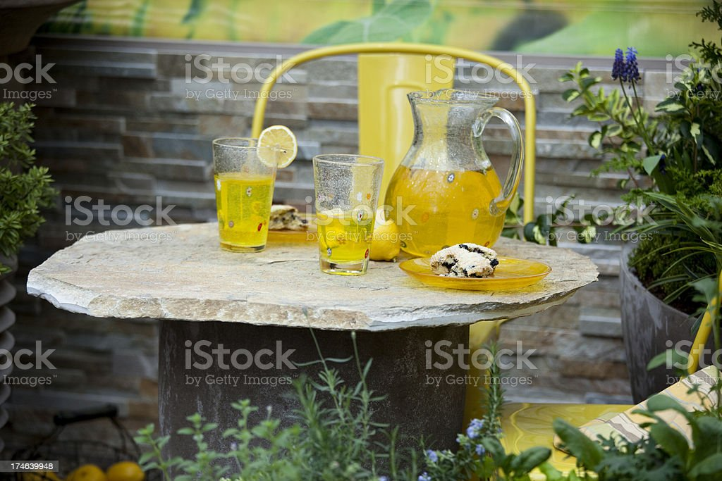 Lemonade and scones for an outdoor picnic royalty-free stock photo