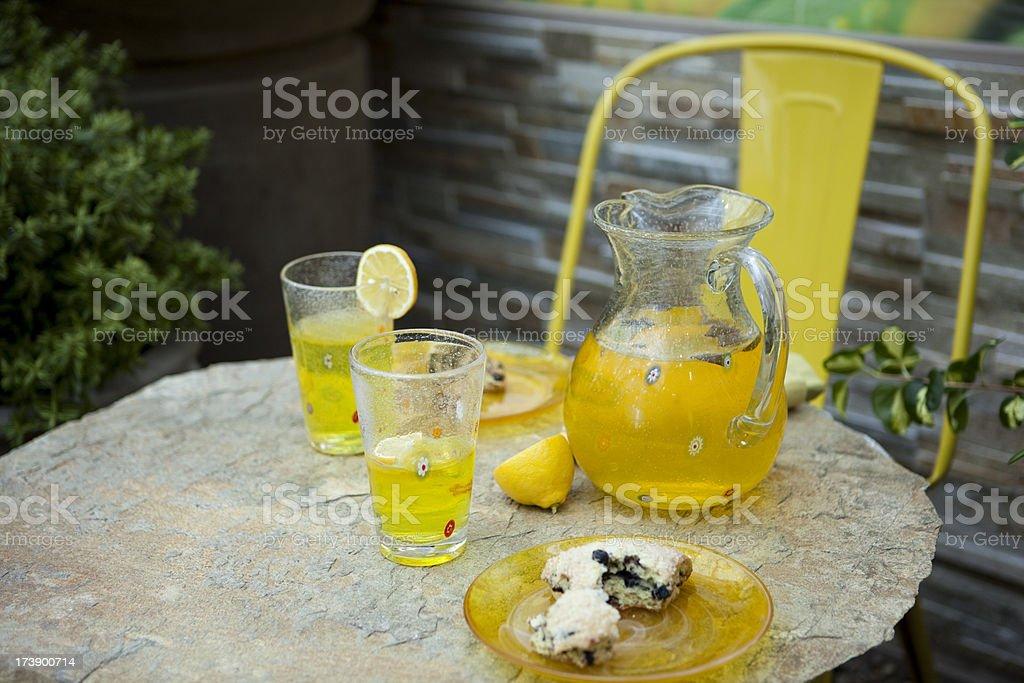 Lemonade and Scones, outdoor picnic royalty-free stock photo