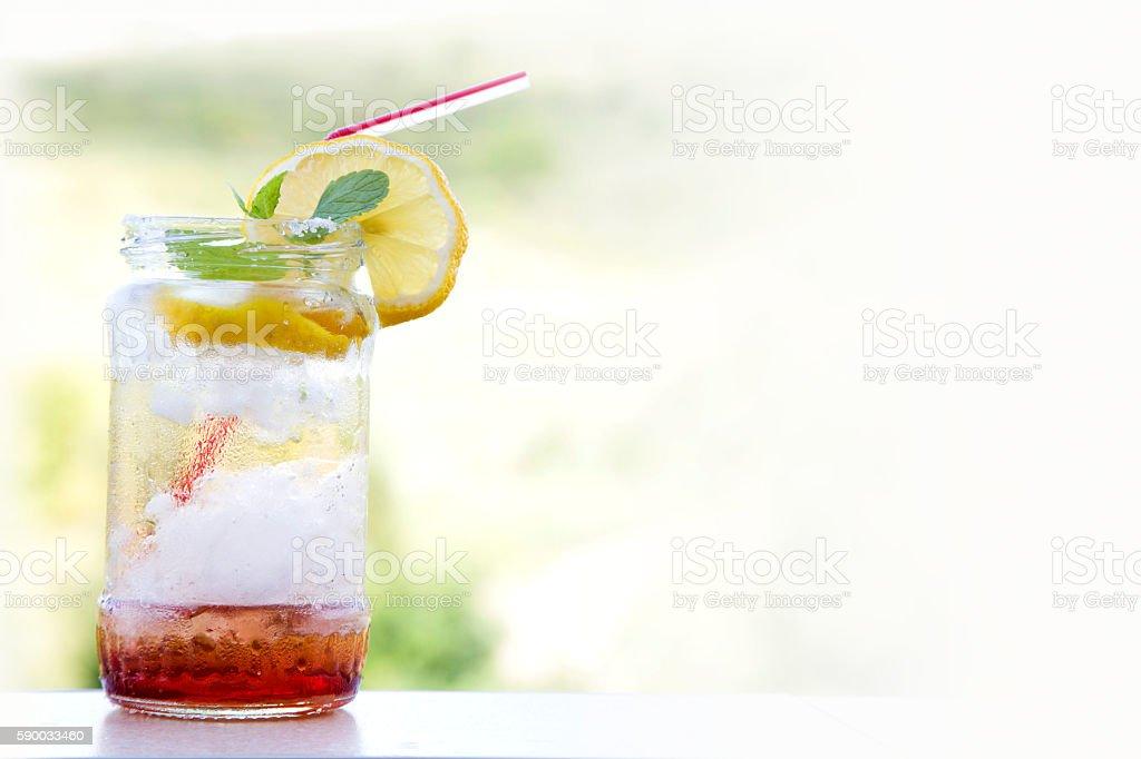 lemonade fruit cocktail, summer diet detox drink stock photo