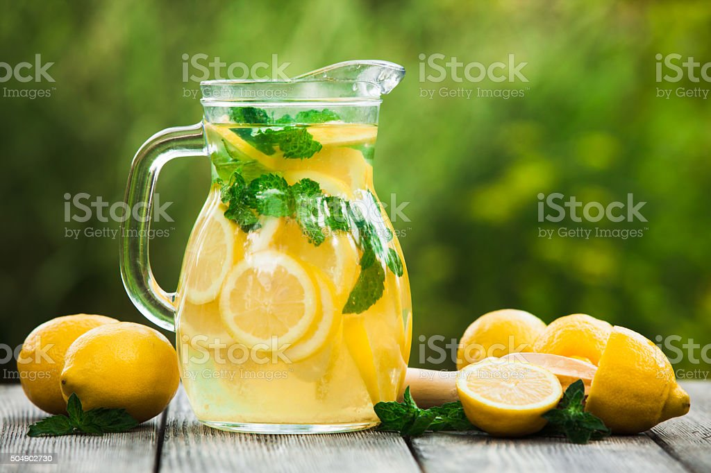 Lemonade in the jug stock photo