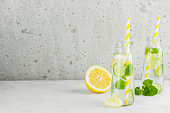 Lemonade with cucumber, lemon and mint on a white background