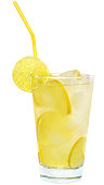 Lemonade with lime and ice cubes