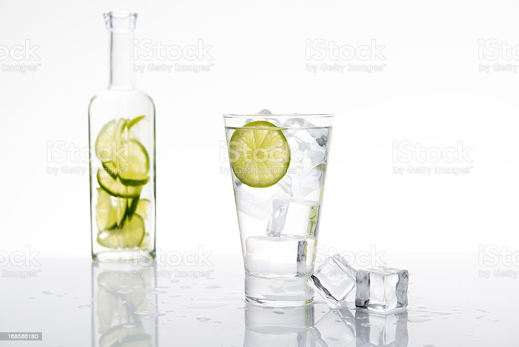 Lemonade with lime and ice stock photo