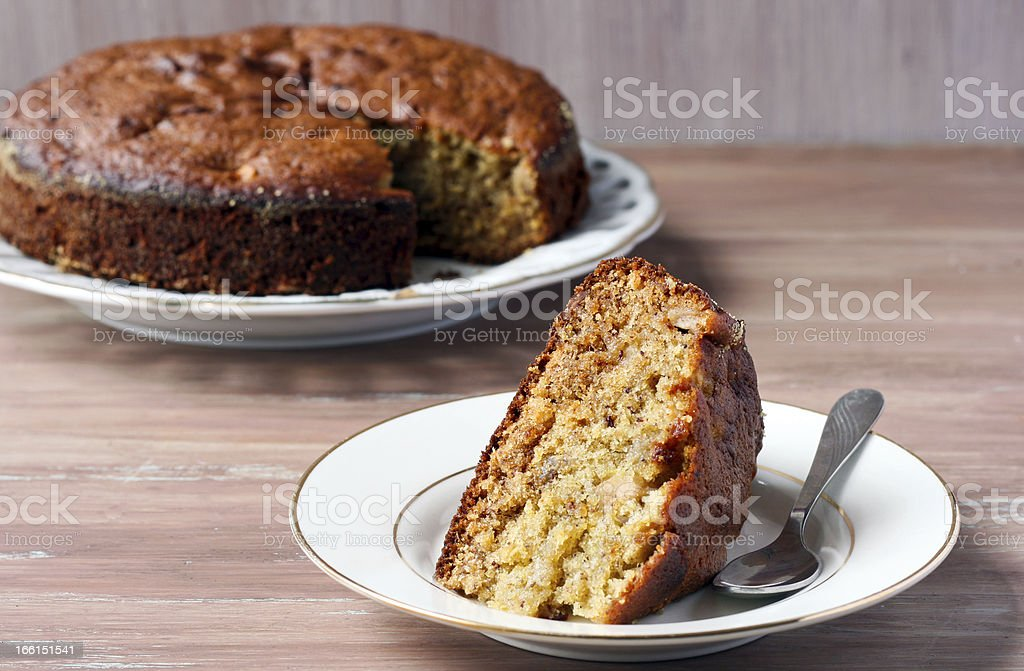 lemon-ginger and date cake with apple stock photo