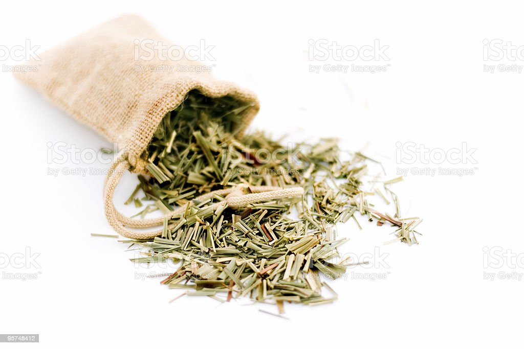 Lemongrass in burlap bag isolated on white royalty-free stock photo