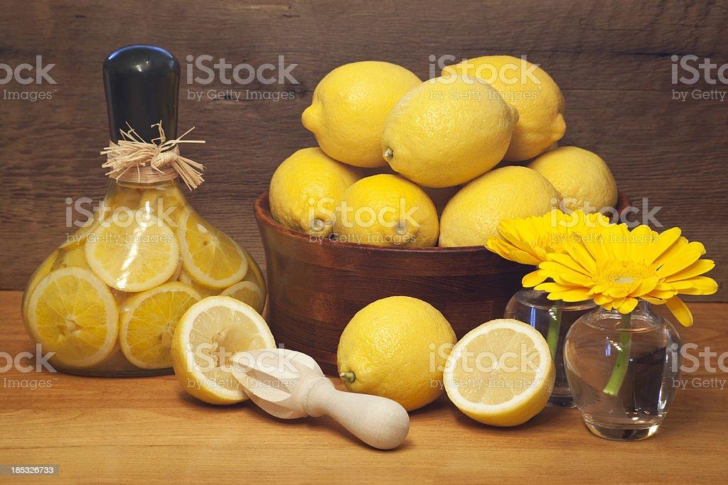Lemons and Barnboard stock photo