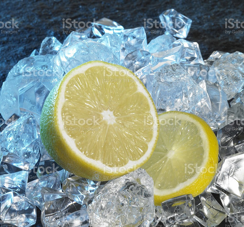 lemons and ice cubes royalty-free stock photo