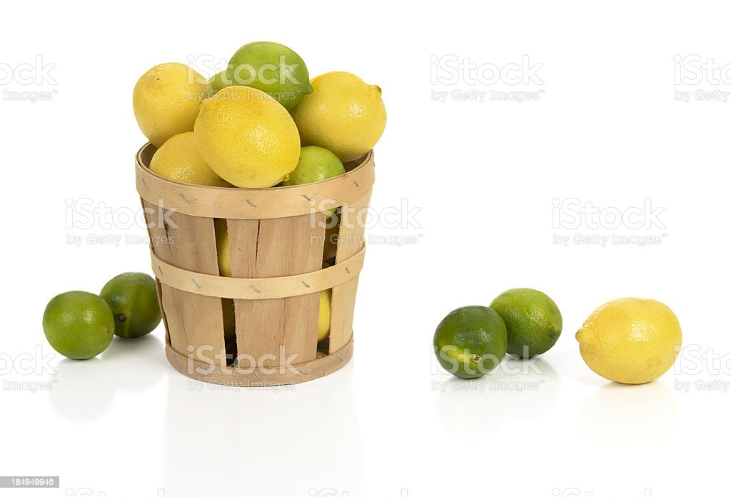 Lemons and Limes in a Basket stock photo