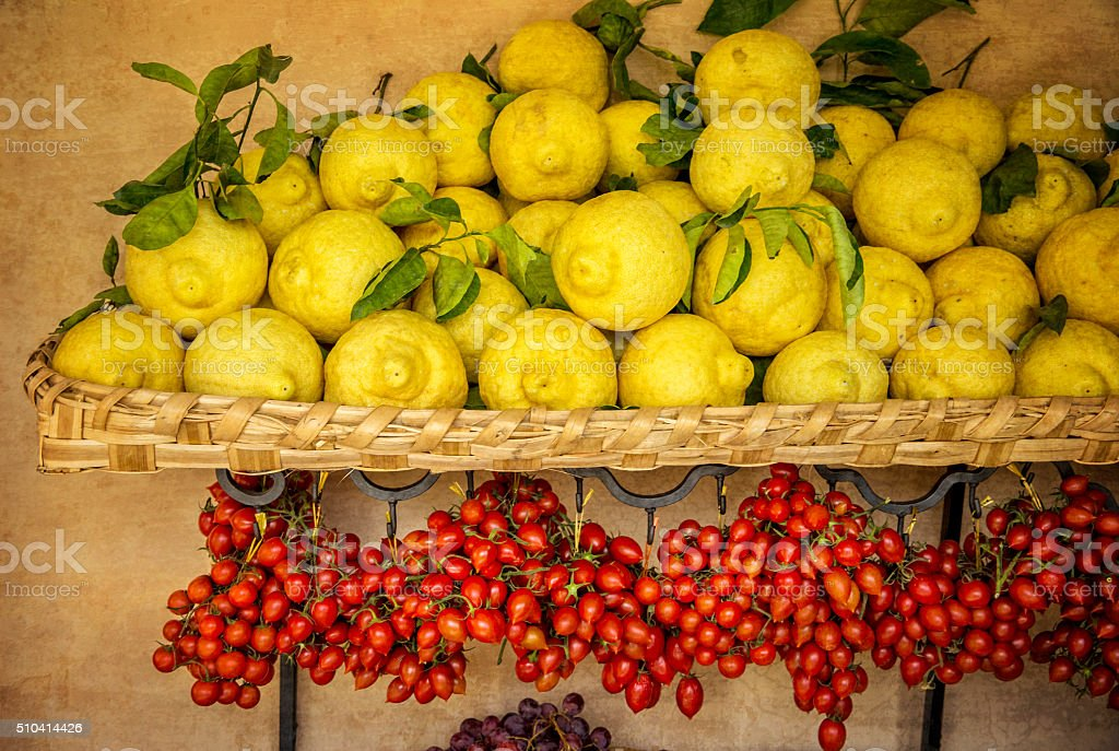 Lemons grown on Amalfi Coast Italy stock photo