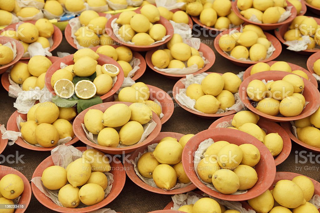 lemons in bowls stock photo