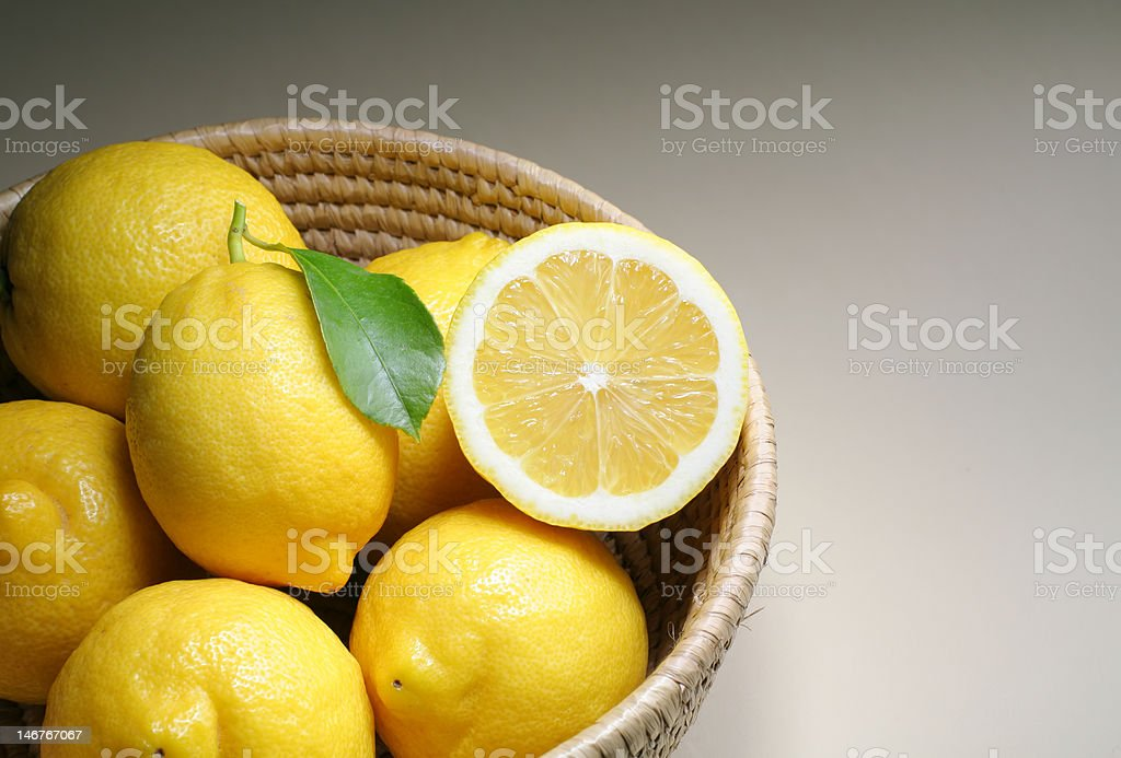 Lemons in the basket royalty-free stock photo