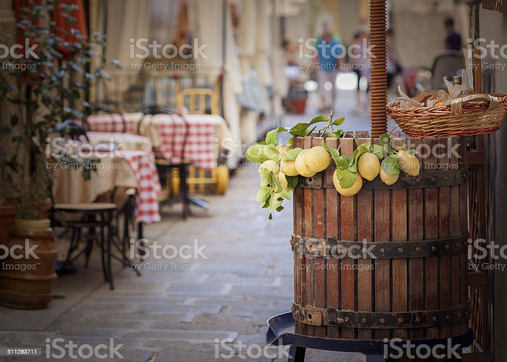 Lemons On Barrel In Italian Alley stock photo