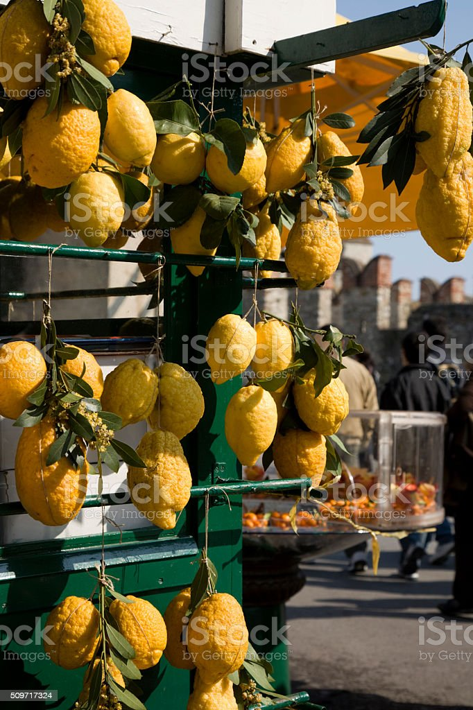 Lemons on Market stall in South Italy stock photo