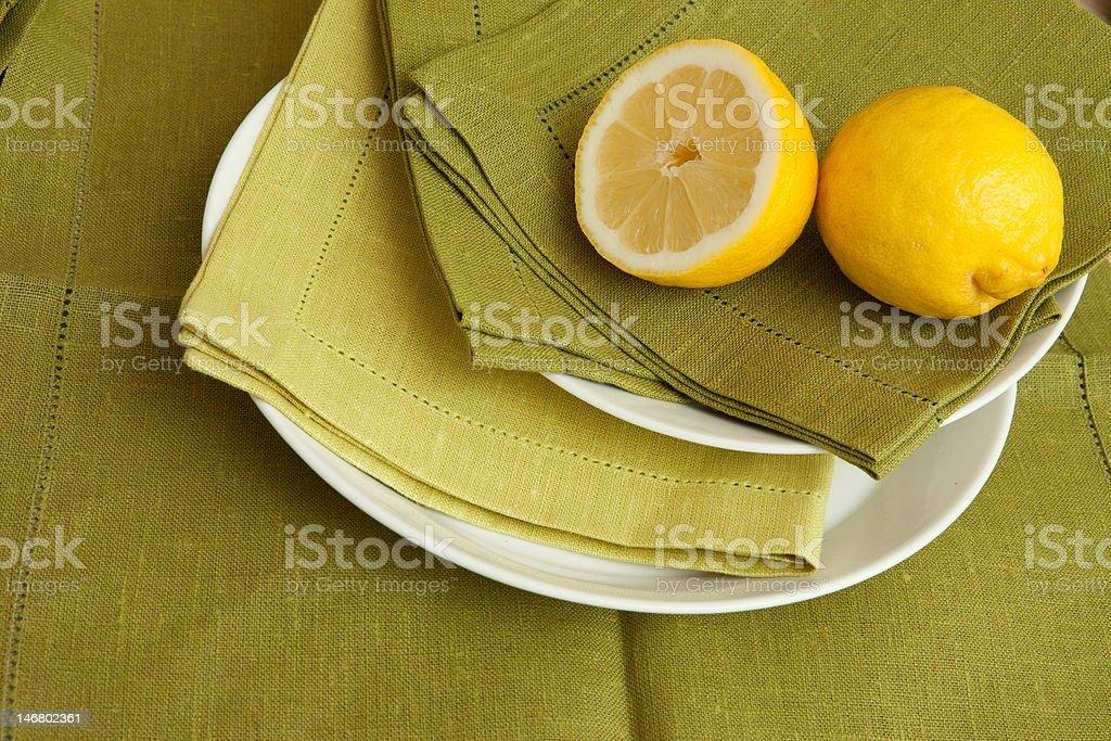 Lemons on plate royalty-free stock photo
