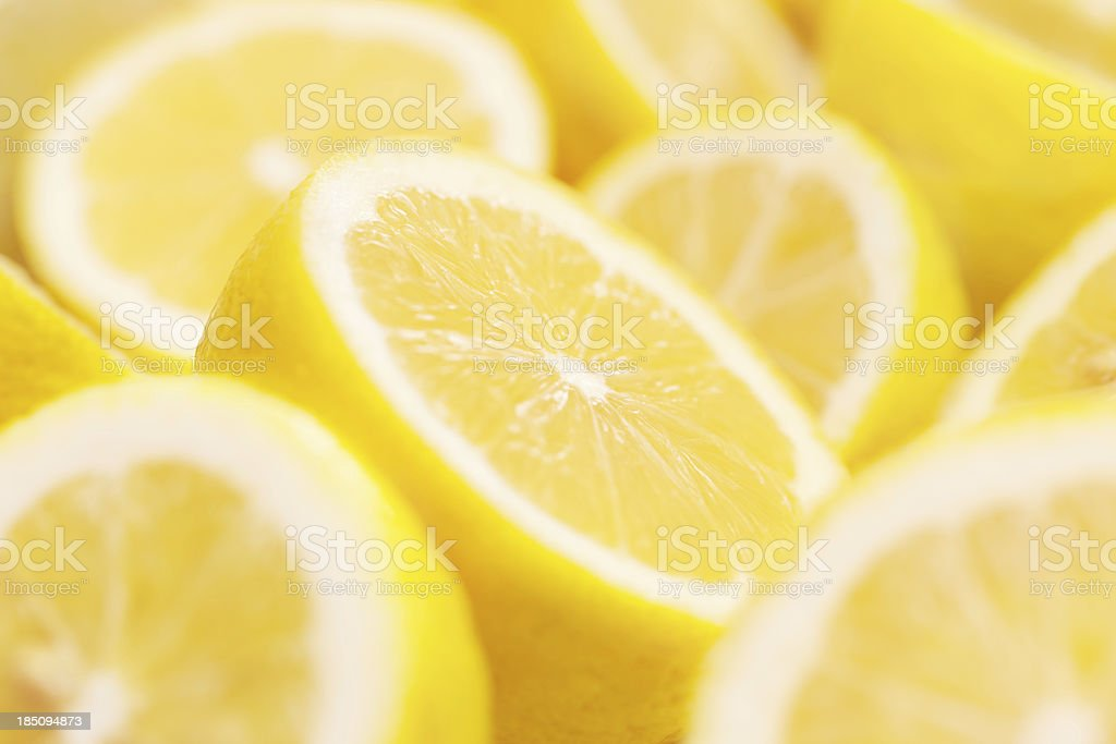 Lemons portions with shallow depth of field stock photo