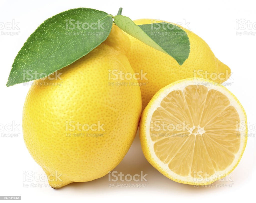 Lemons with leaves. stock photo
