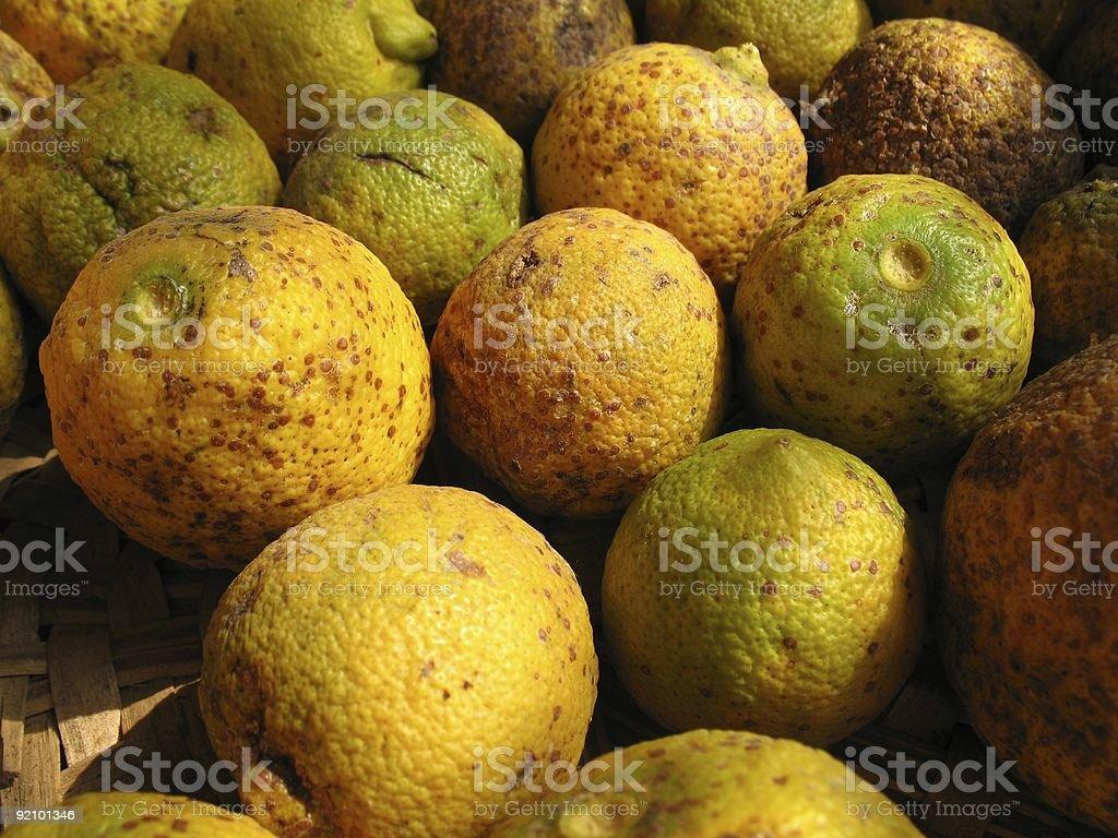 lemons with marks stock photo
