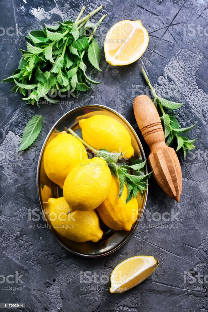 lemons with mint stock photo