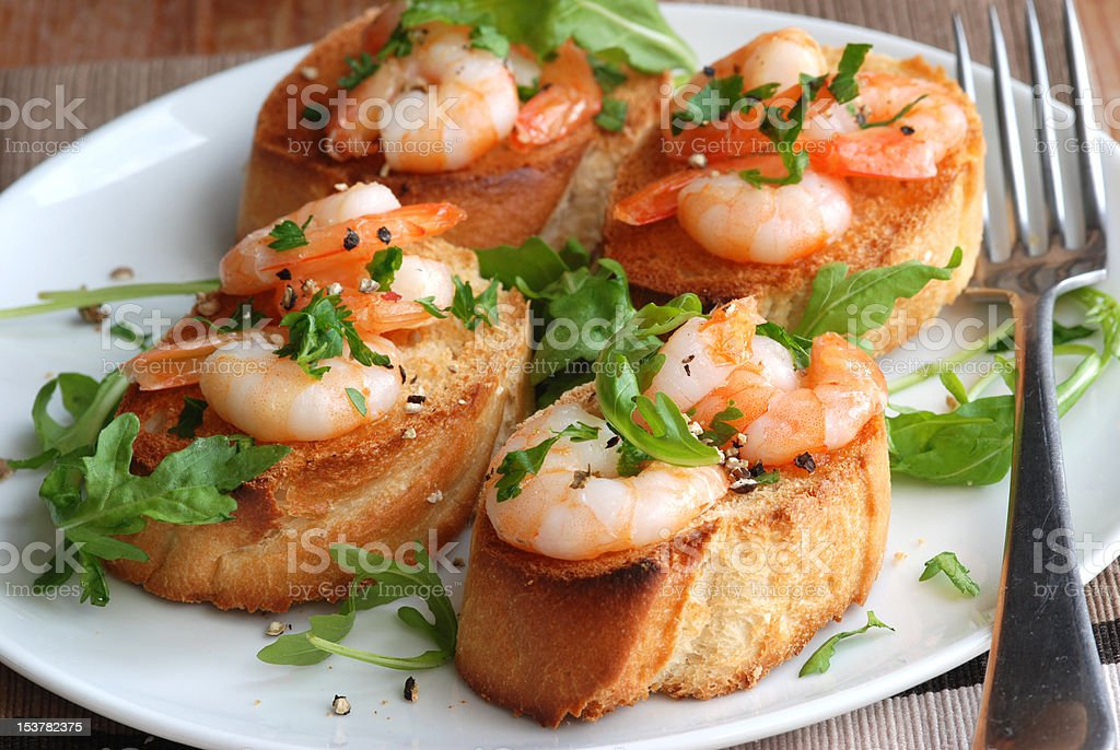 Lemony prawn bruschettas royalty-free stock photo
