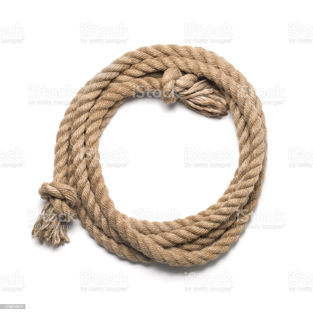 A length of rope with a knot at each end. stock photo