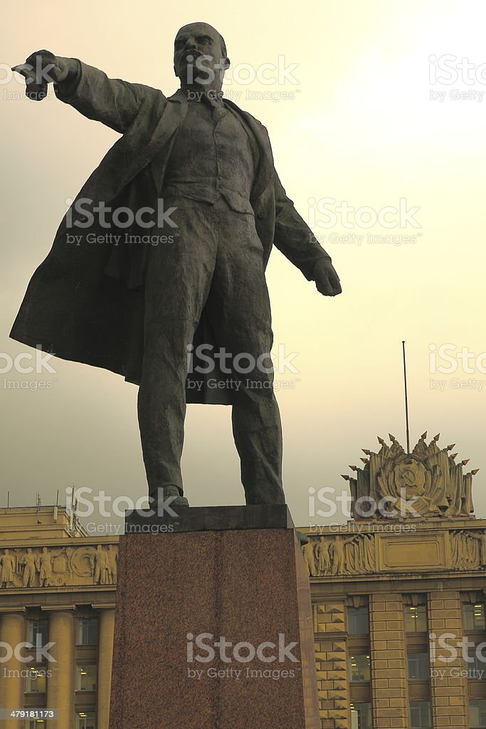 Lenin on Moscow Square of Soviets - St. Petersburg, Russia stock photo