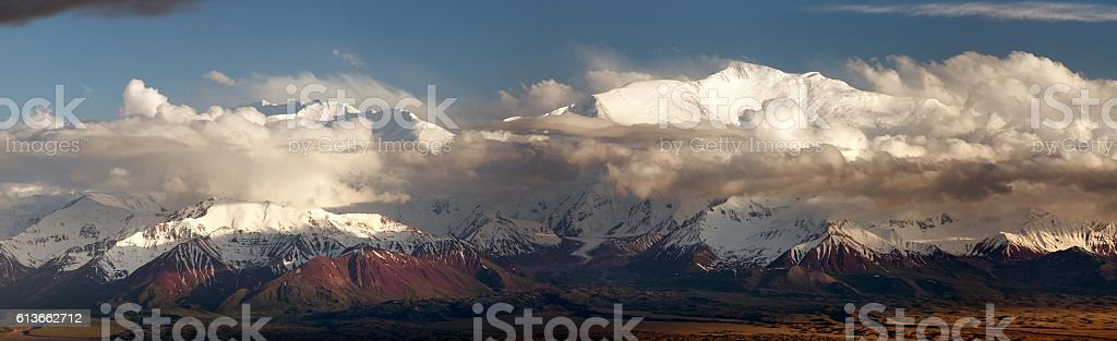 Lenin Peak from Alay range - Kyrgyz Pamir Mountains stock photo