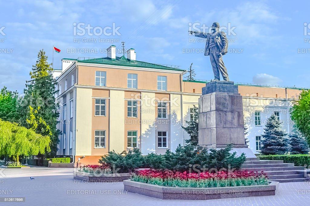 Lenin Sculpture and Belarussian Flag stock photo