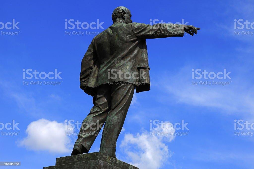 Lenin staute blue sky in Brest, Belarus, Eastern europe stock photo