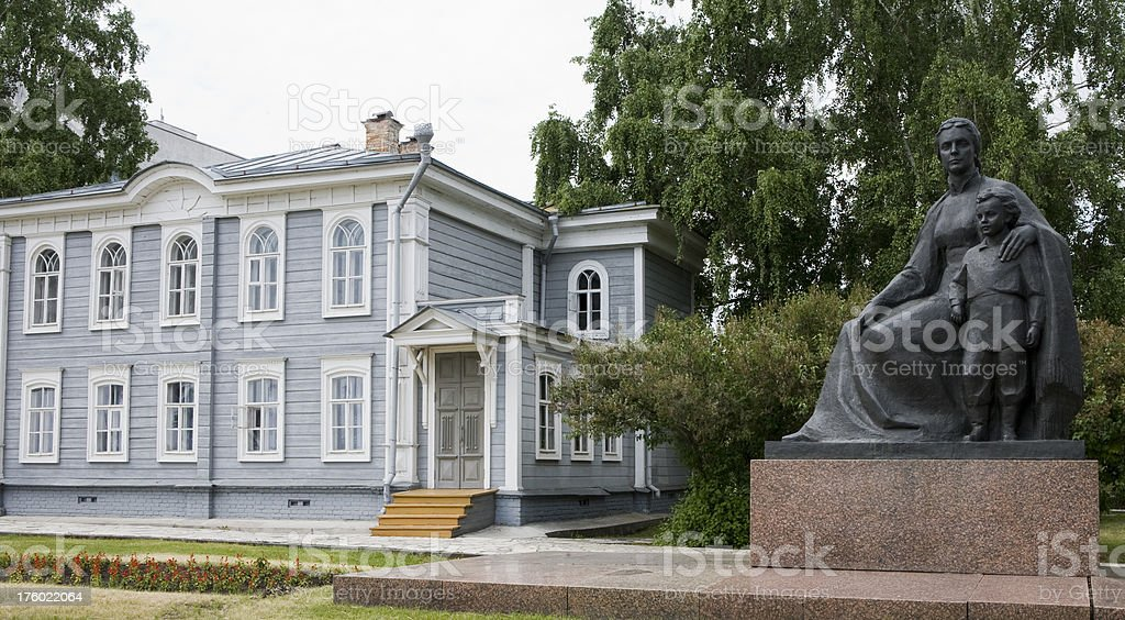 Lenin's birthplace-with statue of mother and brother royalty-free stock photo