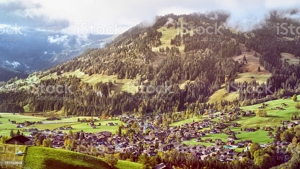 Lenk Im Simmental Village Switzerland from above royalty-free stock photo