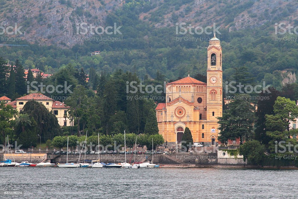 Lenno church - Lake Como - Italy stock photo