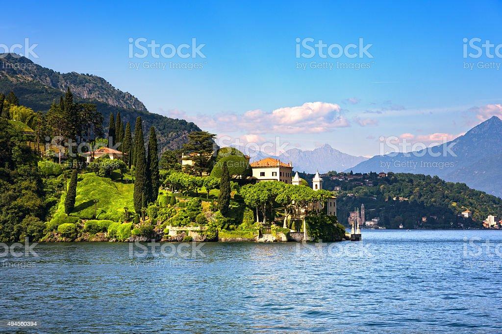 Lenno town and garden, Como Lake district landscape. Italy, Euro stock photo