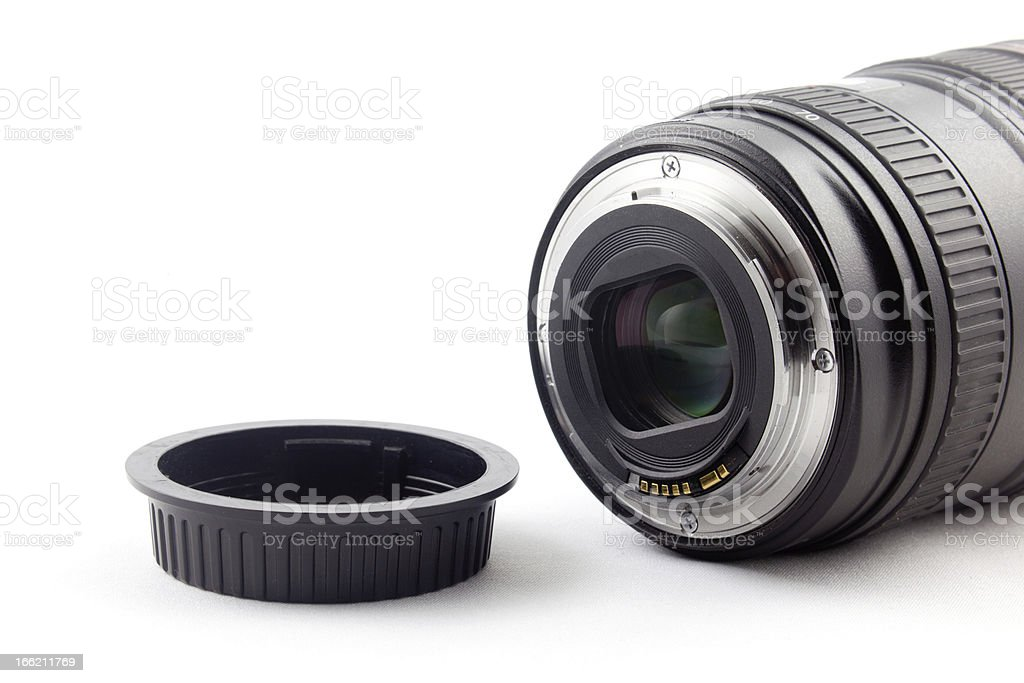 Lens and cap stock photo