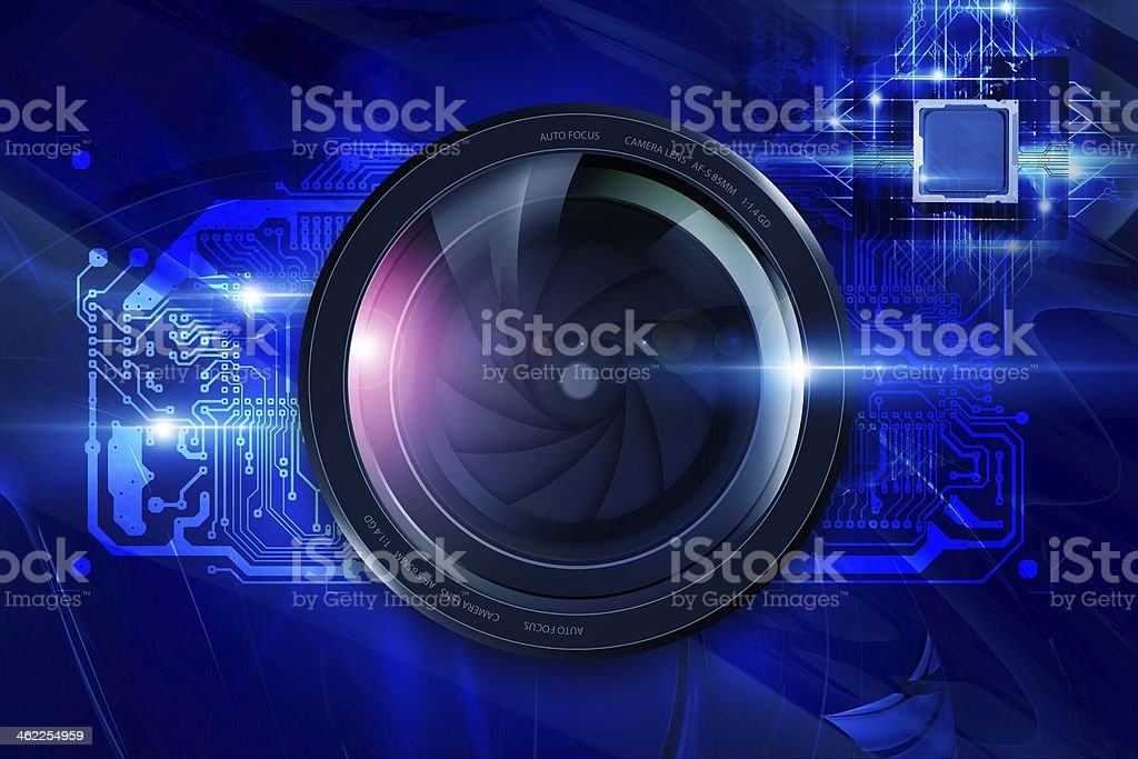 Lens and Circuit Board royalty-free stock photo