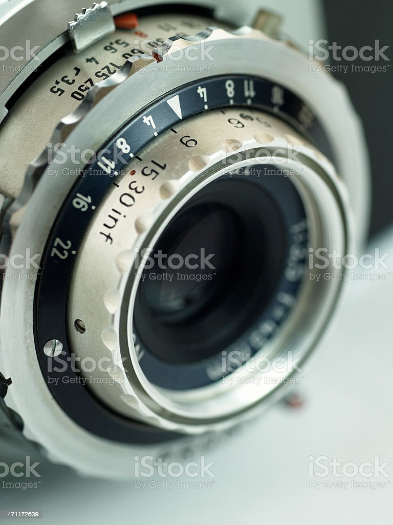 Lens and exposure controls of vintage 35mm camera stock photo
