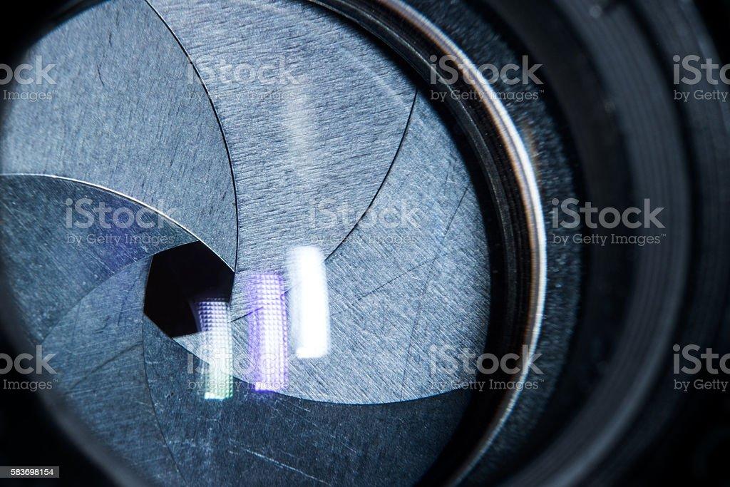 lens aperture closeup and reflexes stock photo