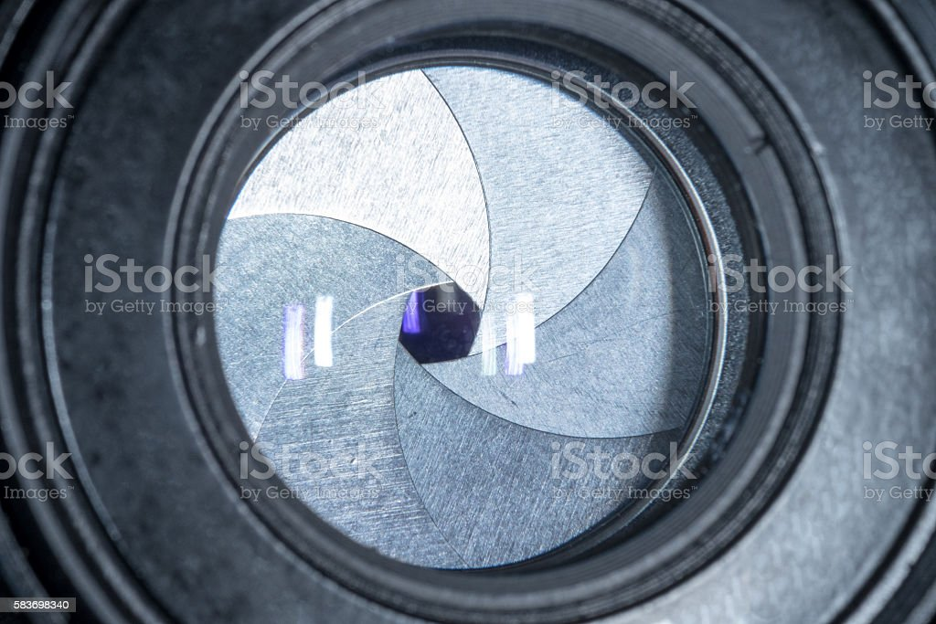 lens aperture closeup and reflexes stock photo