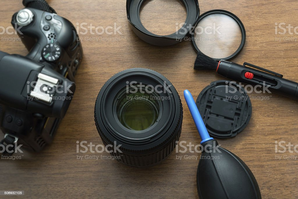 Lens Cleaning stock photo