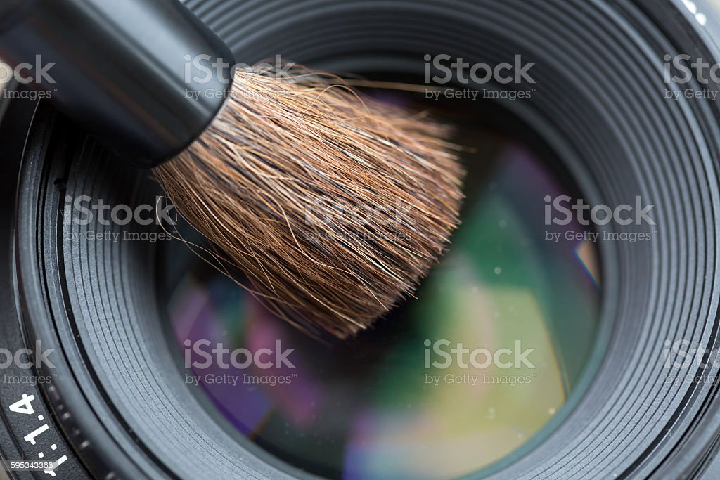 Lens cleaning with Brush Close Up stock photo
