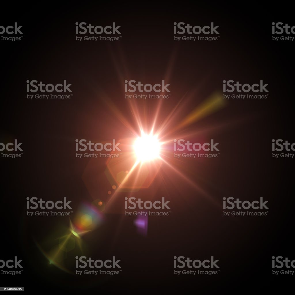 Lens flare on black stock photo