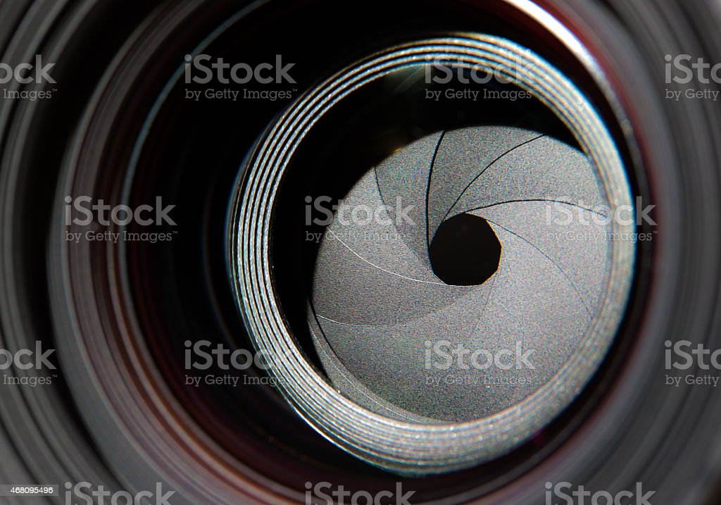Lens front side exposed aperture blades stock photo