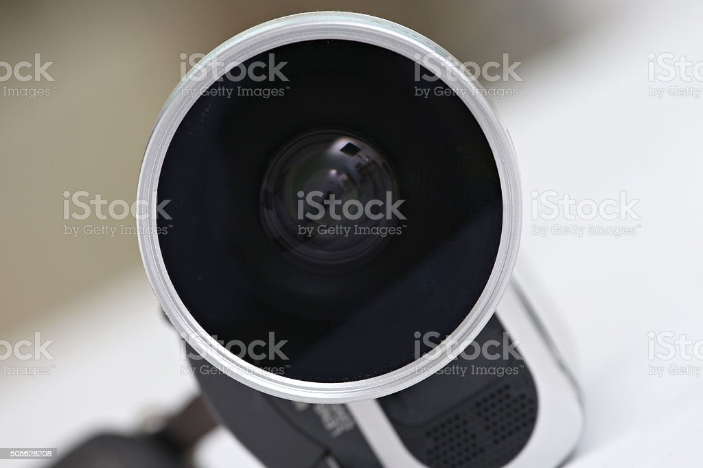 lens of a video camera stock photo
