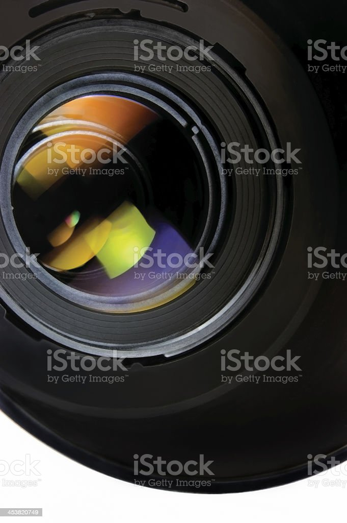 Lens with hood, vertical isolated macro closeup studio shot stock photo