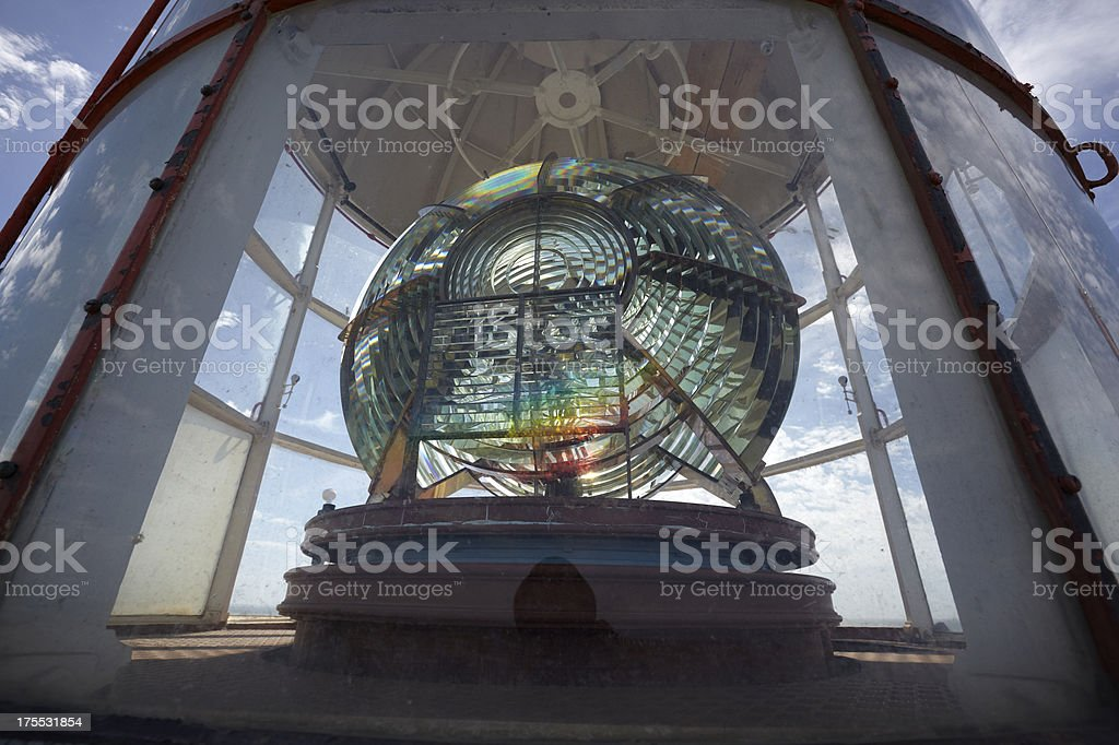 lens with rainbow on lighthouse light royalty-free stock photo