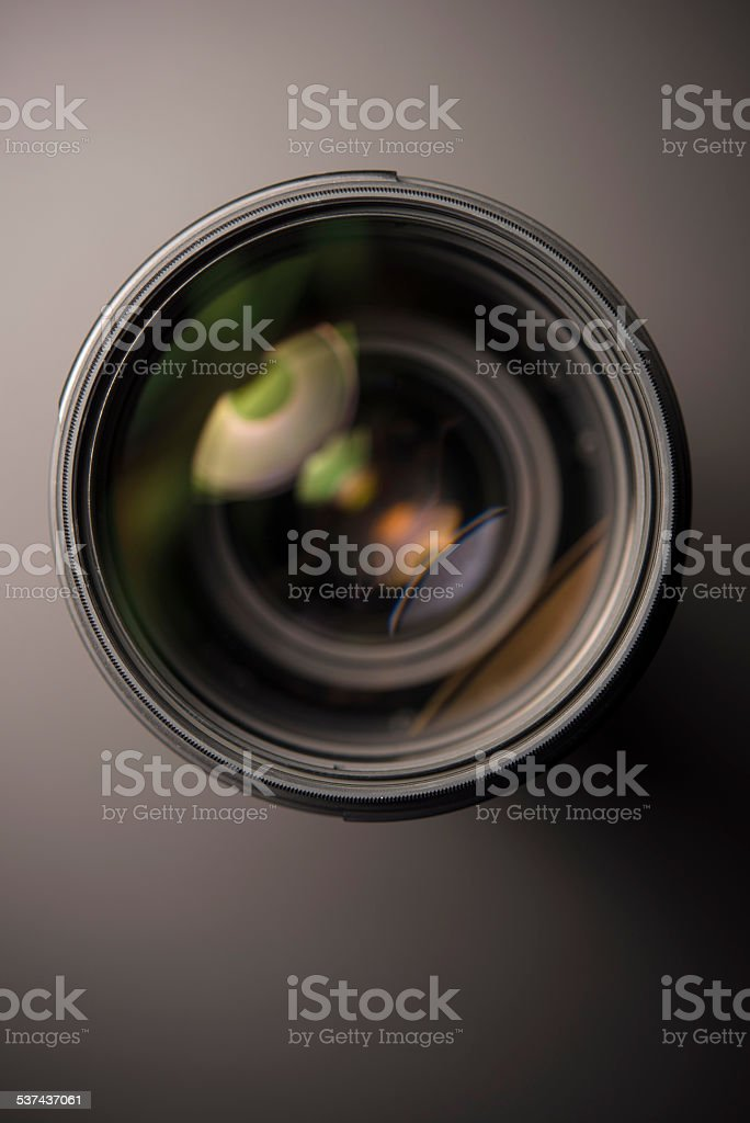 Lens with reflection stock photo