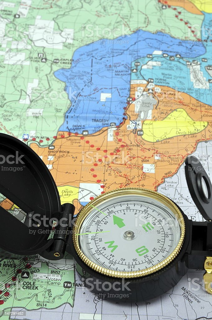 Lensatic Compass And Map royalty-free stock photo