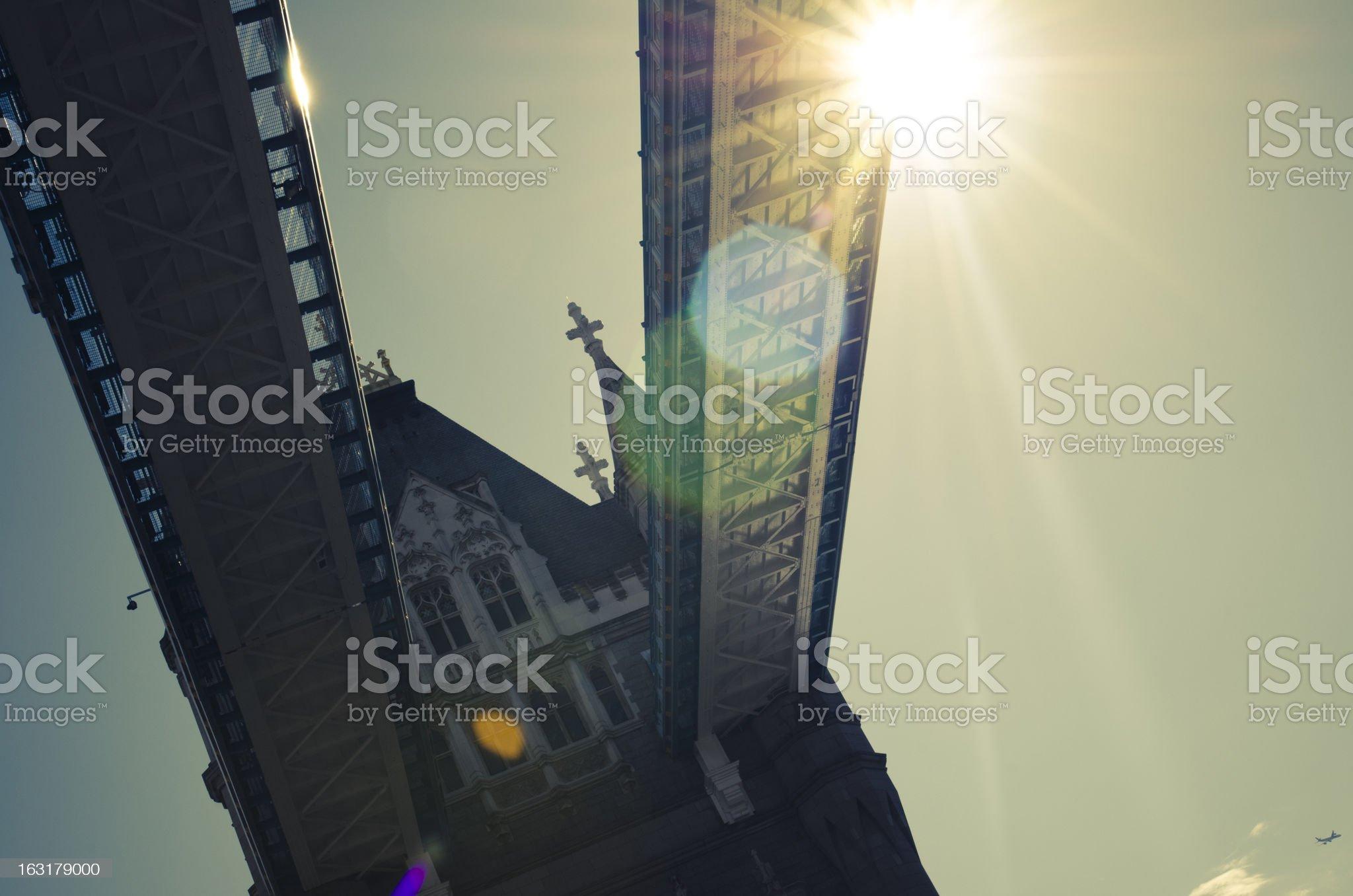 Lensflare in Tower Bridge - London royalty-free stock photo
