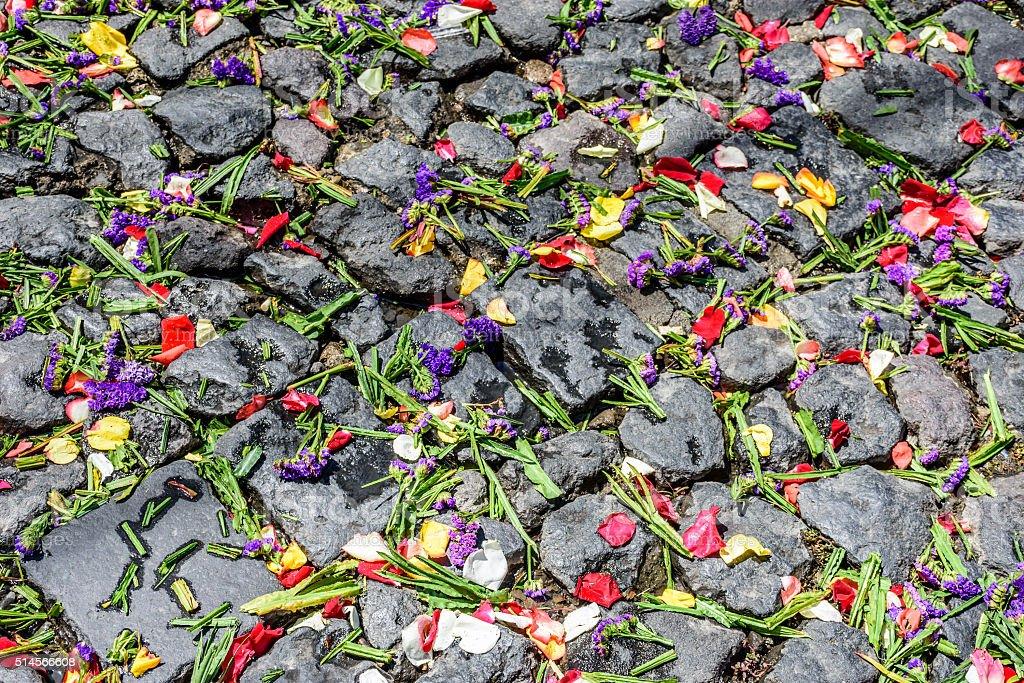 Lent carpet of flower petals on cobblestones stock photo