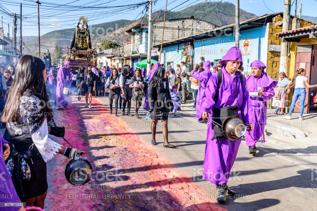 Lent procession, Antigua, Guatemala stock photo